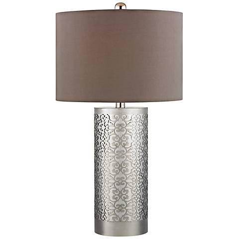 Dimond Polished Nickel Filigree Metal Table Lamp