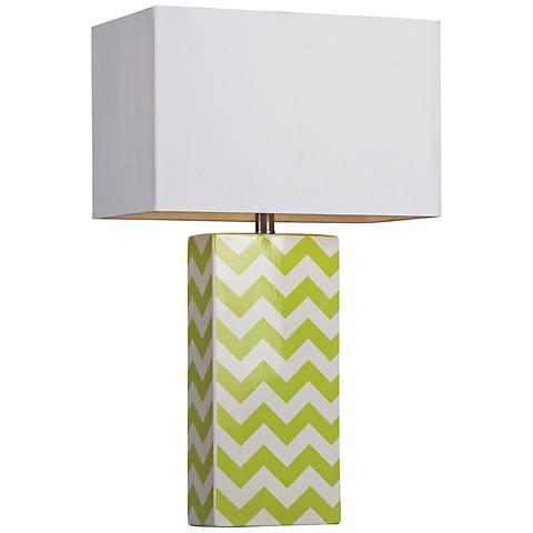 Dimond Green and White Chevron Table Lamp