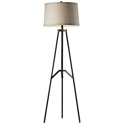 Dimond Black and Gold Functional Tripod Floor Lamp