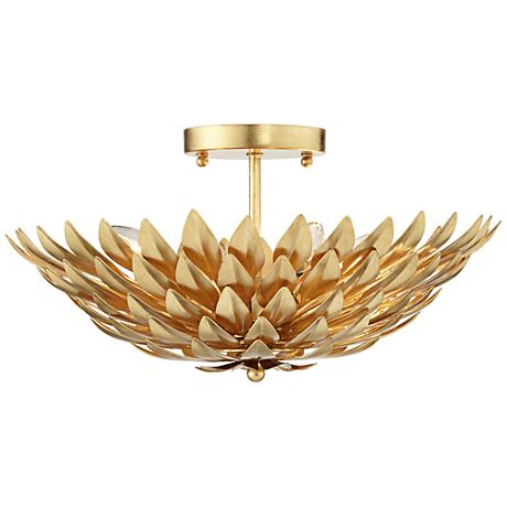 """Crystorama Broche 16"""" Wide Antique Gold Ceiling Light"""
