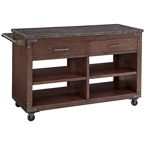 Ellsworth Mocha Wood Rolling Kitchen Cart