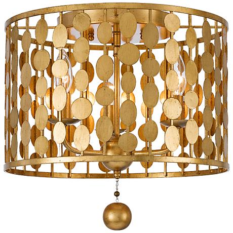 """Crystorama Layla 15"""" Wide Antique Gold Ceiling Light"""