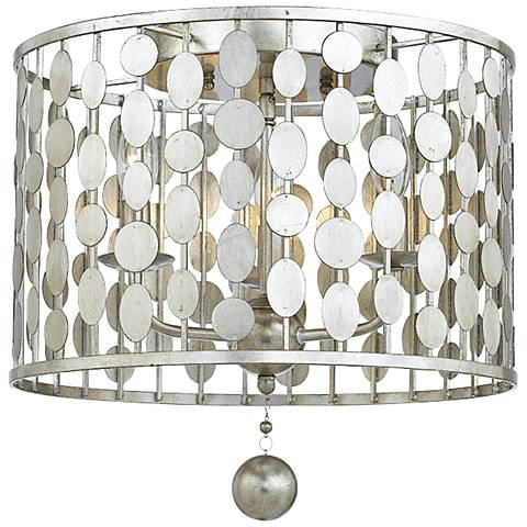 "Crystorama Layla 15"" Wide Antique Silver Ceiling Light"