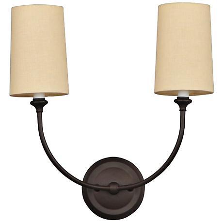 sylvan 15 1 2 wide bronze 2 light wall sconce 7t307 lamps plus. Black Bedroom Furniture Sets. Home Design Ideas