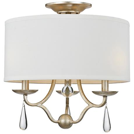 "Crystorama Manning 16"" Wide Silver Leaf Ceiling Light"