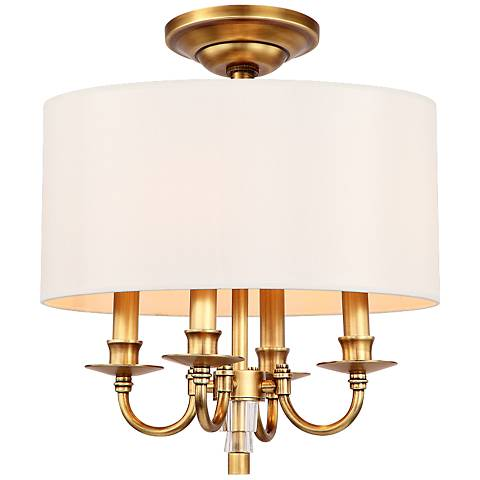 "Crystorama Lawson 15"" Wide Aged Brass Ceiling Light"