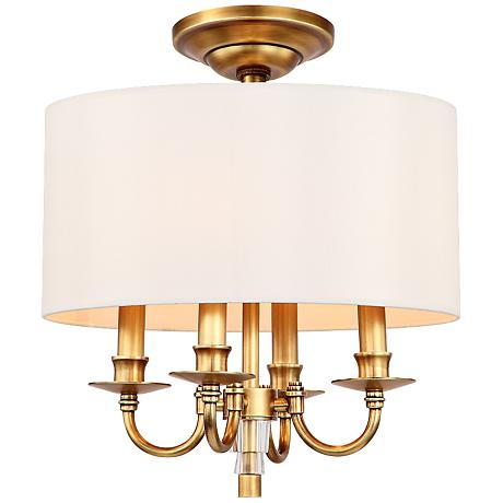 "Crystorama Lawson 15"" Wide Aged Brass Ceiling Light"