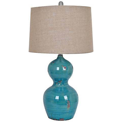 Crestview Collection Blue Bay Turquoise Ceramic Table Lamp