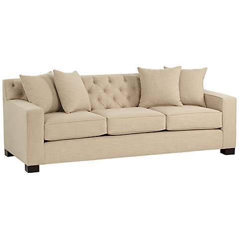 "Cassie 90"" Wide Linen Sand Tufted Sofa"