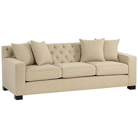 Cassie Linen Sand Tufted Sofa