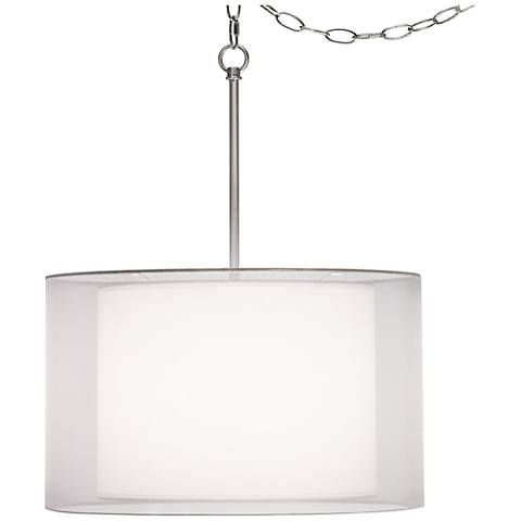 "Milan Double Shade 18"" Wide White Swag Pendant"