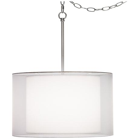 """Milan Double Shade 18"""" Wide White Swag Pendant"""