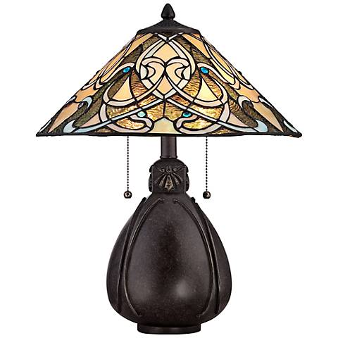 "Quoizel India Imperial Bronze 19 1/2""H Tiffany Table Lamp"