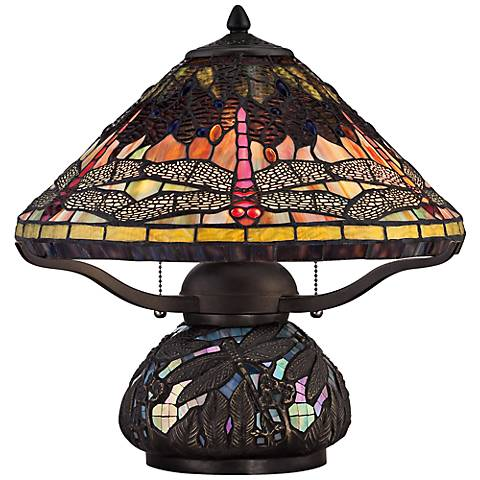 "Quoizel Tiffany-Style 16 1/2"" High Dragonfly Table Lamp"
