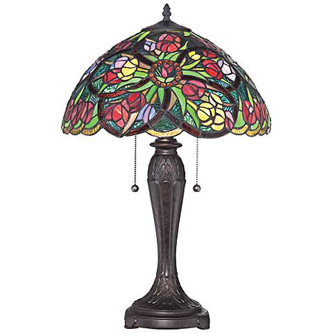 Quoizel Lucia Blooming Flowers Tiffany Table Lamp