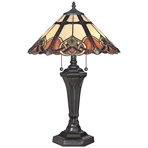 quoizel cambridge vintage bronze tiffany table lamp. Black Bedroom Furniture Sets. Home Design Ideas