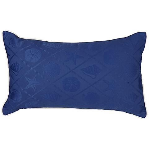 "Shell Blue Outdoor 20""x12"" Decorative Indoor-Outdoor Pillow"