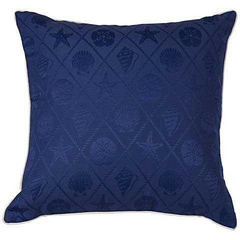 "Shell Blue Outdoor 20"" x 20"" Indoor-Outdoor Pillow"