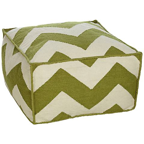 Wasabi Green Chevron Stripe Outdoor Pouf Ottoman