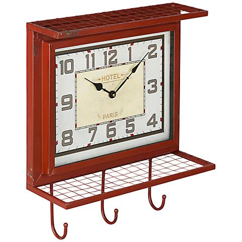 "Cooper Classics Griffon Worn Red 18"" High Wall Clock"