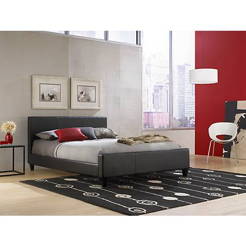 Euro Black Faux Leather Full Platform Bed