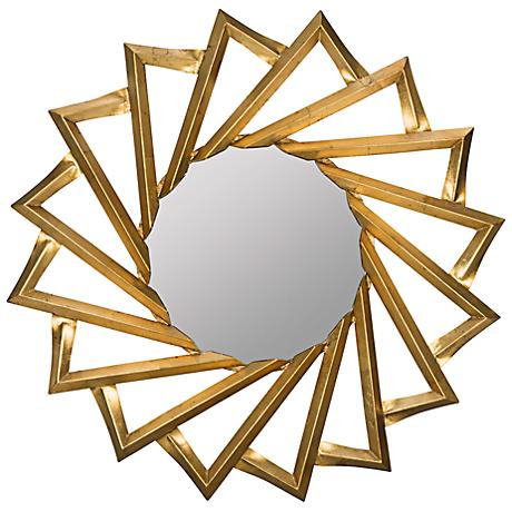 """Cooper Classics Western Gold 32 1/4"""" Round Wall Mirror"""