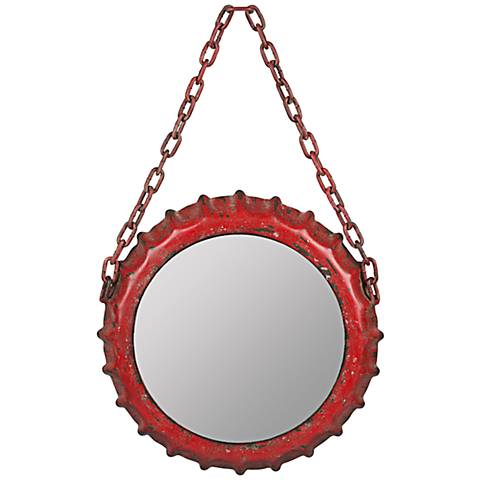"""Cooper Classics Emerson Aged Red 22 1/4"""" High Wall Mirror"""