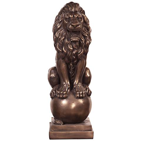 "Howard Elliott Antique Bronze 28"" High Lion Sculpture"