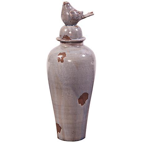 Howard Elliott Small Smoky Blue Ceramic Jar with Bird Lid