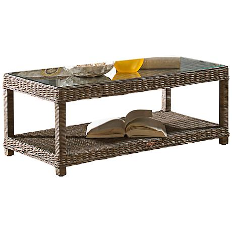 Panama Jack Exuma Kubu Glass-Top Gray Wicker Coffee Table