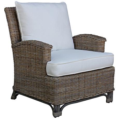 Panama Jack Exuma Cushioned Kubu Gray Wicker Lounge Chair