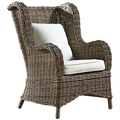 Panama Jack Exuma Kubu Gray Wicker Occasional Chair