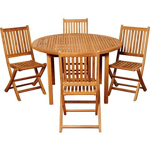 Dallis Teak Folding Chair 5-Piece Round Patio Dining Set