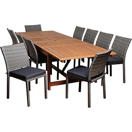 Amazonia Angelo Gray 11-Pc Extendable Patio Dining Set