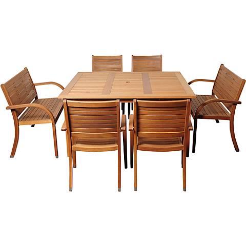 Cerrissa Eucalyptus 7-Piece Square Patio Dining Set