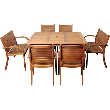 Arizona Eucalyptus 7-Piece Square Patio Dining Set