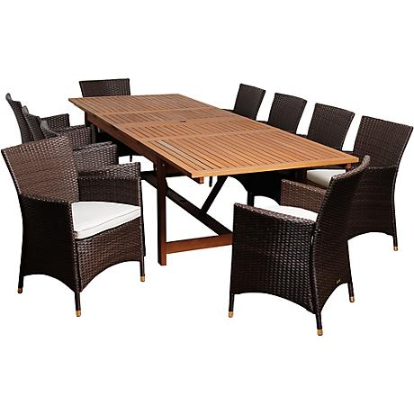 August Brown Wicker 11-Piece Extendable Patio Dining Set