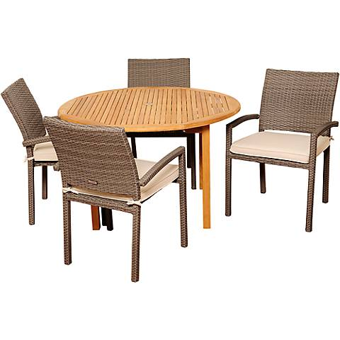 Barlett Gray Wicker 5-Piece Round Patio Dining Set