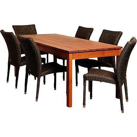 jamison distressed gray wicker 7 piece patio dining set