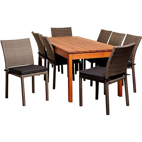 Oceanwood Gray Wicker 9-Piece Rectangular Patio Dining Set