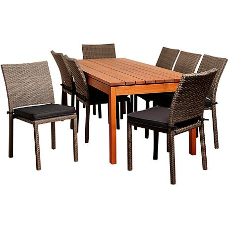 Lynwood Gray Wicker 9-Piece Rectangular Patio Dining Set