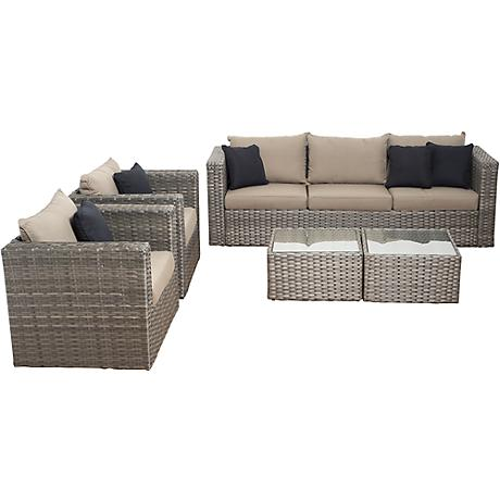 Mustang Gray Wicker 5-Piece Patio Conversation Set