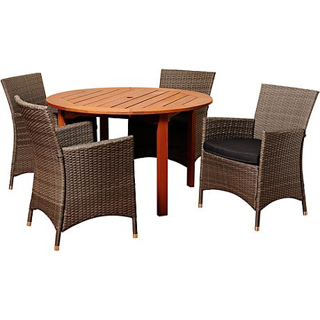 neville gray wicker 5 piece round patio dining set 7v282 lamps