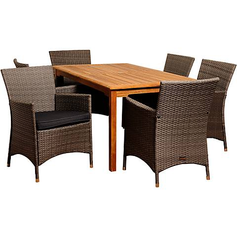 Sandmark Gray Wicker 7-Piece Rectangular Patio Dining Set