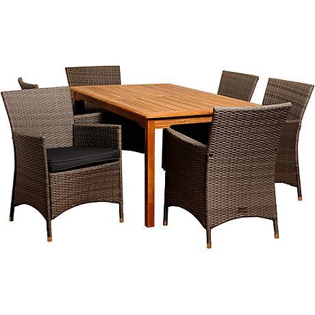 Norris Gray Wicker 7-Piece Rectangular Patio Dining Set