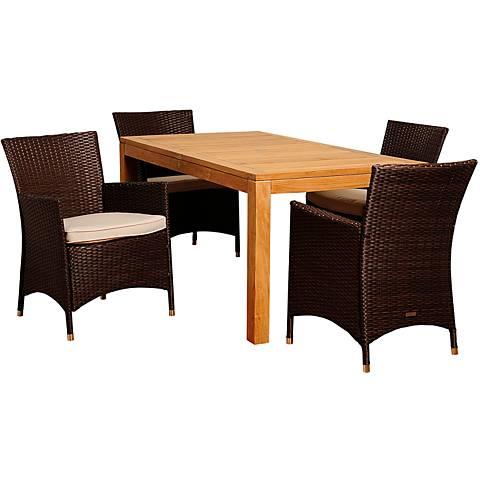 Robertson Brown Wicker 5-Piece Rectangular Patio Dining Set