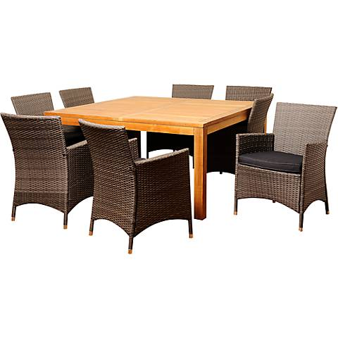 Soledad Gray Wicker 9-Piece Square Patio Dining Set