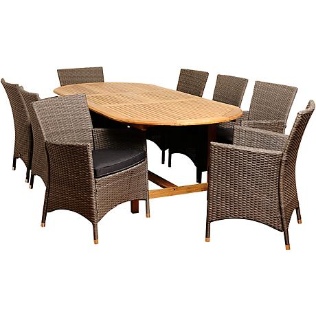Rayford Wicker 9-Piece Extendable Oval Patio Dining Set