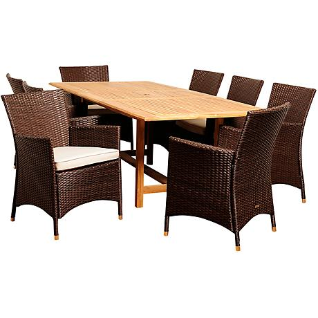 Rayford Wicker 9-Piece Extendable Patio Dining Set