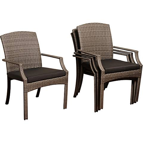 Point Loma Gray Wicker 4-Piece Outdoor Armchair Set